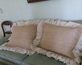 Pair Burlap Pillow Shams Ruffled Burlap Pillows Covers Standard Queen King Pillow Shams Decorative Pillows Bedroom Pillows Set of 2