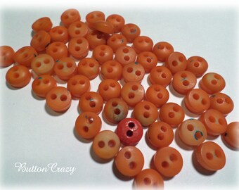 50 Orange Wood Buttons Vintage