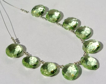 10 Pcs 5 Pair AAA Green Amethyst Quartz Faceted Oval Briolettes Size 14x12mm approx