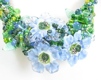 Blue Wire Wrapped Lampwork Flower Necklace and Earrings