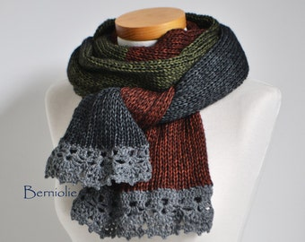 Knitted scarf, blocking with dark red, green and grey, M229