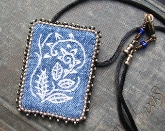 Blue Embroidered Pendant, White Tribal Pattern, Recycled Cotton Denim, Black Cord Necklace