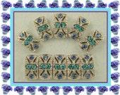 Beads Marcasite Tablets Light Sapphire & Aqua Swarovski Crystal Elements ~ 2 Hole Metal Sliders ~ QTY 10