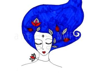 Blue hair. Illustration. Drawing.