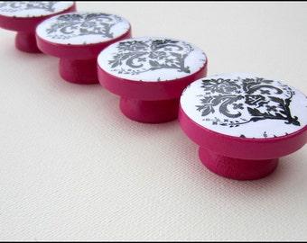 Black Damask Dresser Knobs - Drawer Knobs - Fuchsia - Drawer Pulls - Damask Drawer Knobs
