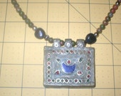 Gemstone Crescent Moon Bedouin Pendant and Beaded Necklace Beautiful Vintage Pendant