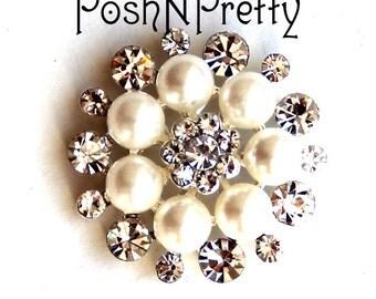 5 Pcs Bridal Elegant Pearl Crystal Button - No shank - 25mm S6