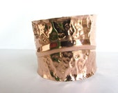 2 inch Big copper cuff BRACELET two inches wide with raised curved line hammered BRACELET