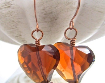Amber Faceted Glass Heart Earrings, Copper Earwires, Dangles, Faceted Heart, Sparkle, OOAK