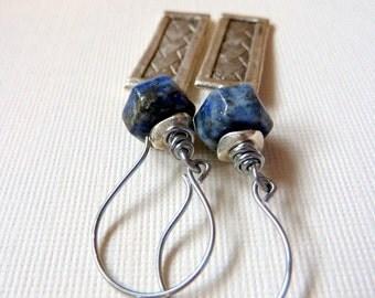 Lapis Lazuli Gemstone Earrings Asian Woven Silver Tag Jewelry Organic Natural Stone Earrings Boho Blue & Silver Earrings *Galina Earrings