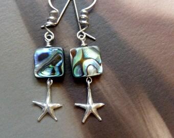 Sea Star* Sterling Earrings Ocean Inspired Jewelry Starfish Earrings Colorful Abalone Earrings Beach Holiday Jewelry Summer Earrings