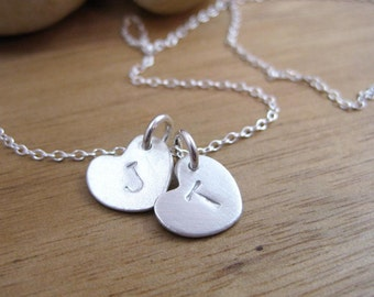 Initial Necklace Mothers Necklace Mothers Day Eco Friendly Heart Necklace Silver Stamped Personalized Necklace Sterling Silver - In My Heart