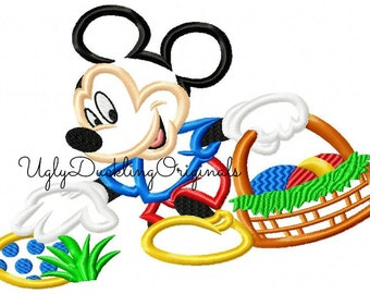 Mickey Applique Design Easter Egg Hunt Machine Embroidery Digital Download