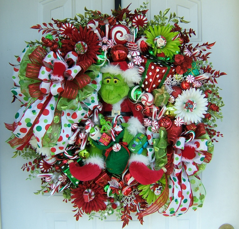 sale grinch wreath christmas wreath holiday wreath door. Black Bedroom Furniture Sets. Home Design Ideas