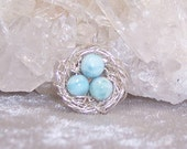 OCEAN EGGS - Nest Pendant in Larimar and Sterling Silver
