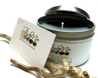 MOONSTONE Soy Treasure Candle Hidden Beach Pebble Jewelry Bead Scented Candle Tin & Drilled Stone Organic Charm - Eco Friendly