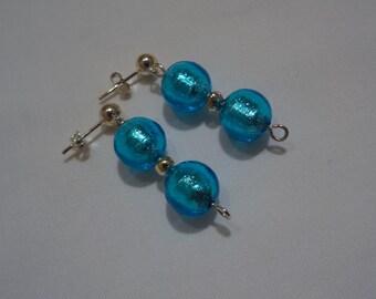 Blue Venetian Glass Bead Earrings(LVE155)