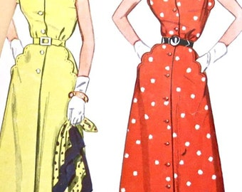 Vintage 1950s Scallop Dress Pattern with Button Front and Flared Skirt - Simplicity 3253