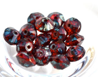 Stunning Red PIcasso Saucer Rondelles Czech Glass Beads 15