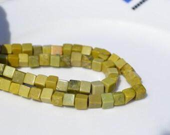Natural Lemon Jade 8mm CUbe Beads   12