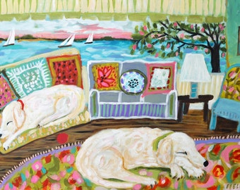 Dog Art Painting Illustration Sleeping 2 Yellow Labs Art Original Whimsical Large Labrador Retriever by Karen Fields