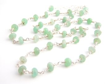 Chrysoprase Strand Necklace, Rosary Style, Sterling Silver, Mint Green