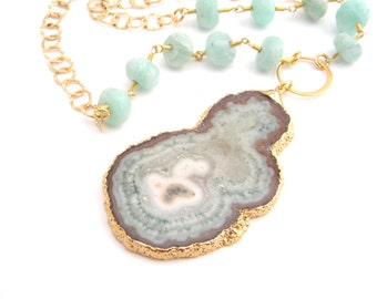 Geode Druzy Pendant On Amazonite And Chain Necklace, Gold, Mint Green, Large Pendant