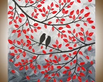 "Red black white wall art Abstract Landscape Painting Original Modern Painting Impasto Tree Love Birds painting""Misty Morning"" by QIQIGALLERY"