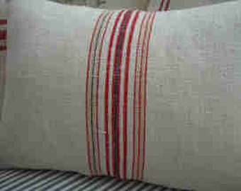 Vintage Grainsack/Down 14x18 PilloW/French Red Blue/Cottage Shabby Chic/Beach Style/Rustic Pillow/Urban/Farmhouse/Decorative Throw Pillow