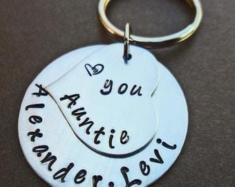Love You Auntie Keychain - Personalized Aluminum Keychain - Custom Name- Hand-Stamped Keychain- K45
