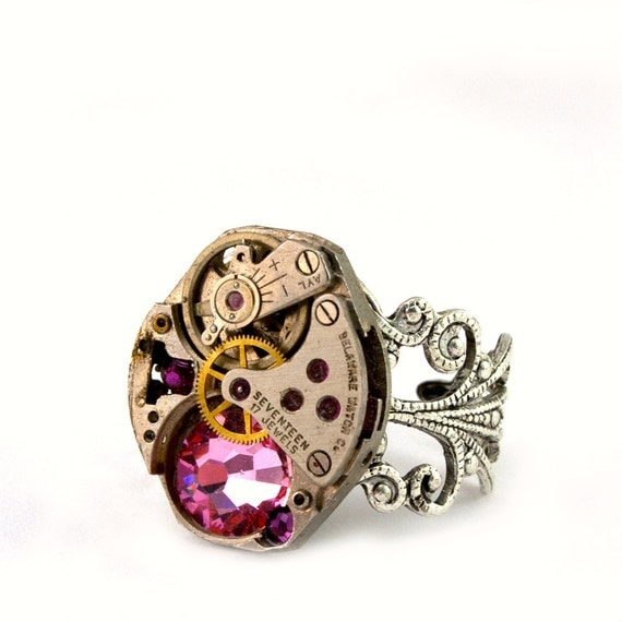 Steampunk Ring - Vintage Clockwork Boldly bejeweled With Beautiful Light Rose Pink Swarovski Crystals - Steampunk Jewellery PROMPTLY SHIPPED
