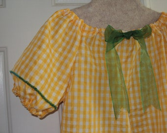 Mardi Gras Peasant style blouse and scarf--gold and white check OOAK --girls size--last one