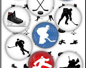 Hockey 1 inch circles with silhouettes - hockey players goalie defensemen puck ice skate [INSTANT DOWNLOAD]