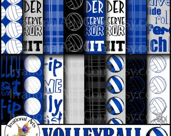 Volleyball Royal Blue and Black Digital Paper - 16 jpg files of volleyball, madras plaid, and volleyball word patterns {Instant Download}