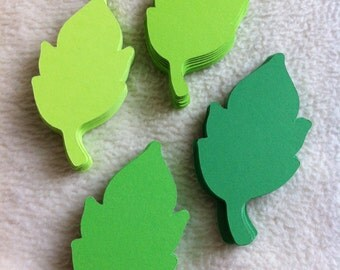 Paper Leaves...100 Piece Set of Very Beautiful Feathered Green Paper Leaves Die Cut Scrapbooking Embellishments
