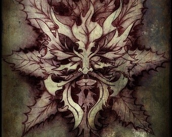 Green man 11 x 17 art print by Jesse Lindsay, signed, dated & ready to frame! dark full color fantasy nature visionary surrealism pagan