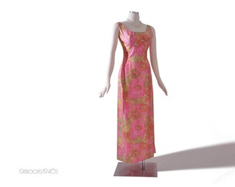 Vintage 60s Mad Men Pink Hawaiian Dress XXS  - Watercolor Print Empire Maxi Dress