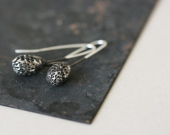 Spore Earrings - Oxidized Sterling Silver Earrings
