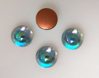 Vintage West German Aquamarine AB 11mm Round Domed Flat Back Glass Cabochons (4)