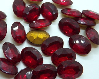 Vintage Czech Siam Oval Faceted 18x13mm Glass Jewels (2)