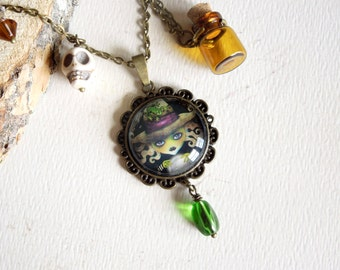 Wicked Witch Elphaba Bronze Pendant Necklace - OOAK Necklace by Sandra Vargas