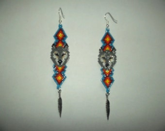 Brick Stitch Wolf  In Feather Delica Seed Beading Dangle PDF E-File Earring Pattern-308