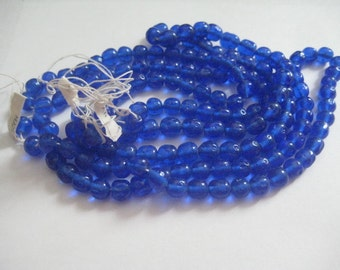 20 8mm Cobalt Blue Made in Japan Baroque Round Glass Beads Vintage With Dimples
