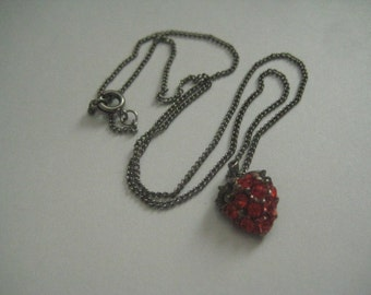 Vintage Strawberry on Silvertone Chain Hand Painted in the style of Tom Binns