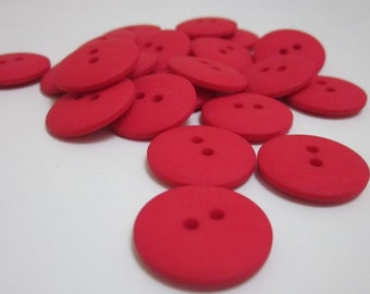 Plain Red Buttons 20mm 24 pieces