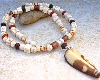 Mens Bone Mask Gemstone Necklace
