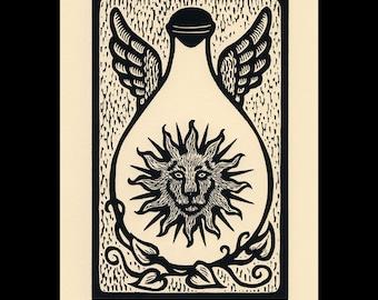 Lion woodcut limited edition Arcanum Bestiarum bestiary print