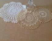 Vintage Crochet Round Doilies - Set of three