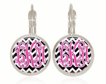 Monogram Earrings, Monogram Jewelry, Bridesmaid Gift, Personalized Bridesmaid Gift, Personalized Jewelry (Black And White Chevron)