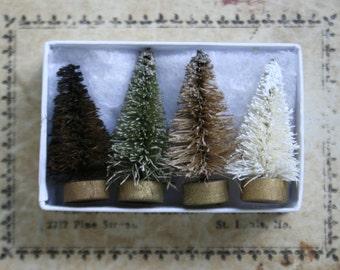 Miniature Dark Forest Halloween Trees - Vintage Style Bottle Brush Trees - Tiny 1-1/2 Inch Trees for Display - Set of 4 Bottle Brush Trees